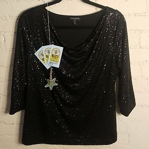 Eileen Fisher Black Small Sequined Top 100% Silk